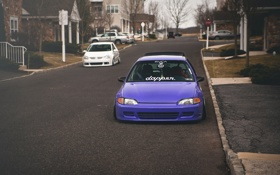 Картинка улица, Purple, Honda Civic, цивик, stance. хонда