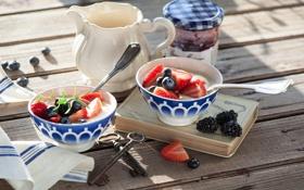 Обои ягоды, завтрак, черника, клубника, ежевика, джем, йогурт