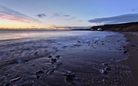 Картинка песок, море, пляж, закат, камни