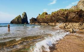 Картинка море, волны, природа, скала, фото, побережье, Испания