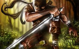Картинка лес, оружие, меч, маска, арт, мужчина, отблеск