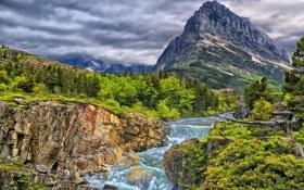 Картинка каскад, лес, Glacier National Park, скалы, река, горы, Swiftcurrent Falls