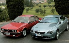 Обои деревья, красный, парк, серый, бмв, BMW, and