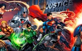 Картинка wonder women, Darkseid, Flash, Aquaman, cyborg, Justice League, superman