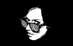 Обои очки, девушка, чёрный, обои, лицо, арт, фон