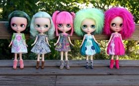 Обои волосы, девочки, игрушки, куклы, розовые, зелёные, платья