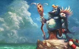 Картинка существо, чудовище, утёнок, спасательный круг, by redpeggy