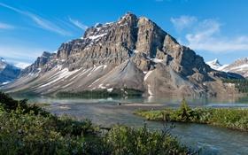 Обои пейзаж, горы, природа, скала, озеро, берег, Канада