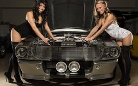 Картинка авто, Shelby, GT500, брюнетка, блондинка, Ford Mustang