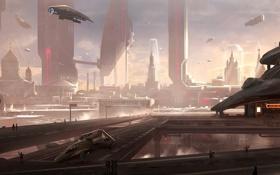 Обои город, будущее, транспорт, корабли, арт, банк, мегаполис