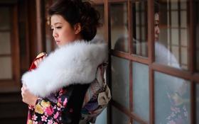 Обои азиатка, мех, лицо, стиль