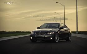 Обои трава, газон, чёрный, бмв, BMW, black, 335i