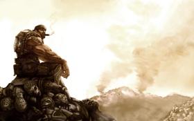Обои арт, солдат, сигара, gears of war, трупы, marcus fenix