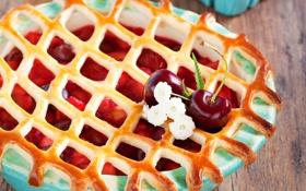 Обои ягоды, пирог, выпечка, вишни, сладкое