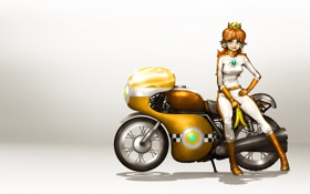 Картинка мотоцикл, art, Mario Kart 8, Princess Daisy