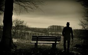 Обои Winter, Tree, Man, Look, Black & White, Far, Bench