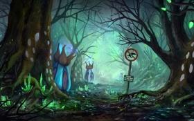 Картинка лес, цветы, знак, растения, арт, аллея, дервья