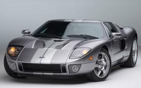 Обои полосы, серый, фары, суперкар, ford, форд, передок