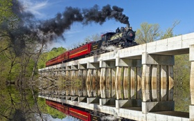 Обои небо, деревья, мост, отражение, река, дым, паровоз