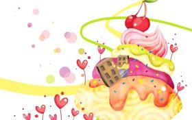 Обои ягоды, фантазия, дома, сердечки, крем, детские обои, вишенки