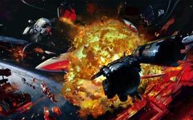 Обои космос, взрывы, корабли, арт, sci-fi, Distant Star