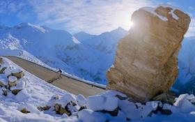 Картинка зима, дорога, небо, солнце, лучи, снег, горы