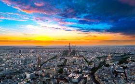 Обои небо, облака, закат, природа, Город, Paris, France