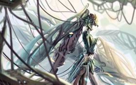 Картинка девушка, металл, провода, робот, арт, kikivi