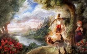 Обои горы, природа, река, девочки, аниме, шляпка, ведьма