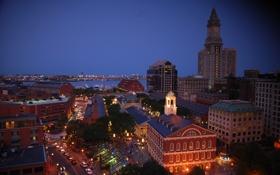Обои город, night, Boston, Quincy Market & Faneuil Hall