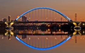 Картинка небо, мост, огни, река, вечер, освещение, подсветка