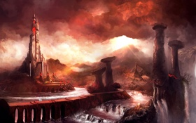 Картинка тучи, мост, река, замок, скалы, конь, башня