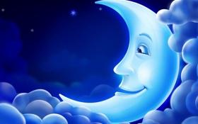 Обои облака, свет, луна