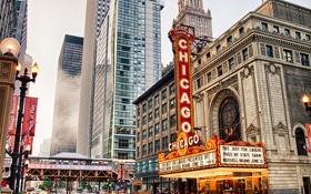 Обои train, chicago, theater, state st.street