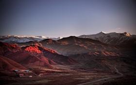 Обои горы, Аламут, домики, дорога, Иран
