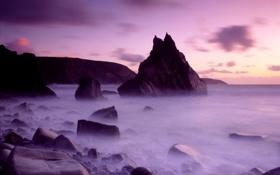 Картинка море, фиолетовый, небо, вода, облака, природа, туман