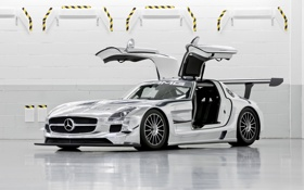 Обои Mercedes-Benz, AMG, SLS, GT3, Chrome