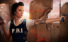 Картинка девушка, пистолеты, татуировка, Арт, бронежилет, FBI, лазерный прицел