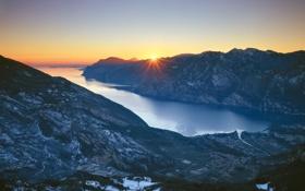 Картинка море, пейзаж, горы, рассвет