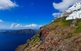 Картинка море, небо, остров, дома, Санторини, Греция