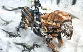Обои девушка, тигр, роботы, la tigre e la neve