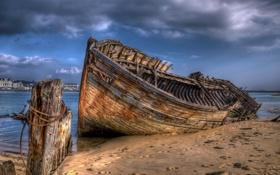Обои пейзаж, корабль, France, Brittany, Le Magouër