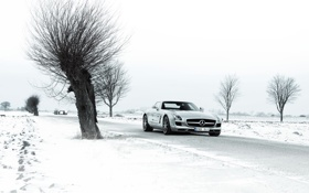Обои winter, amg, sls, 6.3, mercedes-benz