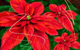 Обои листья, открытка, краски, вектор, цветы
