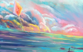 Обои море, небо, облака, пейзаж, мальчик, кепка, живопись