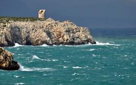 Картинка море, камни, скалы, берег, башня, руины