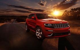 Обои закат, джип, внедорожник, Jeep Grand Cherokee