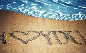 Обои песок, море, буквы