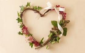 Обои цветы, ветки, ягоды, стебли, растения, лента, венок