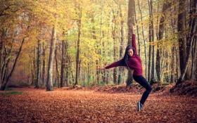 Обои Leslie, лес, осень, девушка, танец